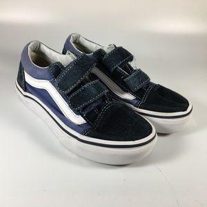 Vans Blue Canvas Suede Hook Loop Strap Sneakers